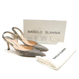Manolo Blahnk Lizard Roccia Ring Slingback Pumps