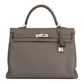 Hermes Togo Leather Etain 35cm Kelly Retourne
