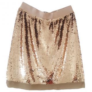 Dolce & Gabbana Gold Sequin Mini Skirt