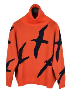 Finisterre x Christopher Raeburn albatross orange rollneck jumper