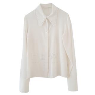 Valentino Silk Embroidered Collar Blouse