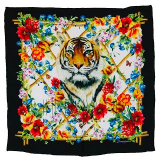 Dolce & Gabbana Floral Tiger Print Silk Scarf