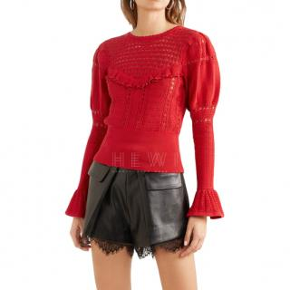 Self-Portrait Ruffled Open-Knit Cotton Sweater