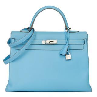 Hermes Epsom Leather Blue Bi-Colour 35cm Kelly Retourne