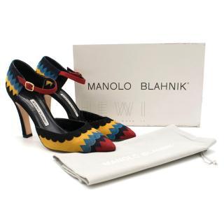 Manolo Blahnik Encaje Suede Ankle Strap Pump
