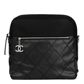 Chanel Leather & Canvas Convertible Black Backpack