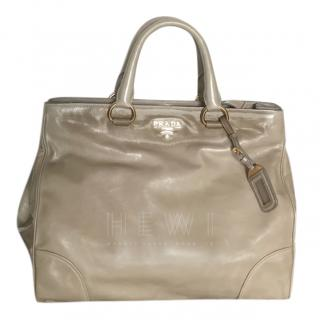 Prada Vitello Shine Beige Tote Bag