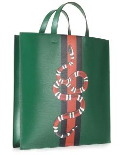 Gucci Web And Kingsnake Leather Tote in Green