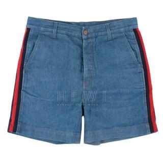 Gucci Denim Web Stripe Shorts