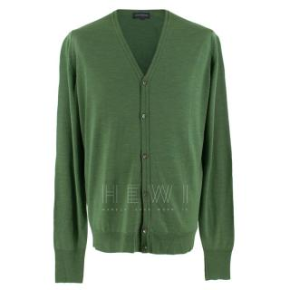 John Smedley Men's Green Wool Cardigan