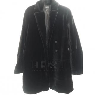 APC Black Faux Fur Coat