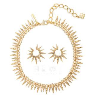 Oscar De La Renta Crystal Embellished Sea Urchin Necklace & Earrings
