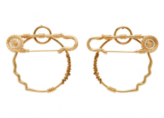 Versace Gold Medusa Safety Pin Hoop Earrings