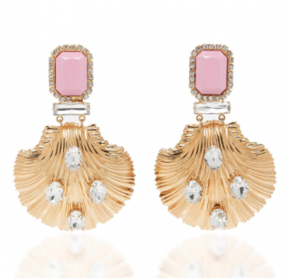 Alessandra Rich Satin Pink And Gold Seashell Earrings