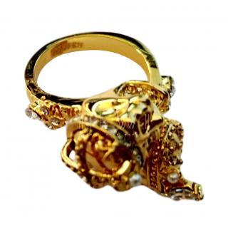 Alexander McQueen Crystal Embellished Twin Skull Ring