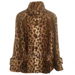 Gerard Darel Leopard Print Faux Fur Coat