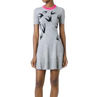 McQ Wool Intarsia Swallow Print Dress
