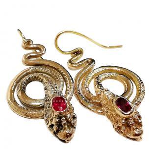 Bespoke Antique Victorian Ruby Snake Earrings