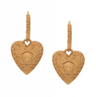 Versace Gold Tone Heart Medusa Hook Earrings