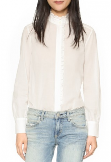 See by Chloe Ruffle Front Cotton Shirt