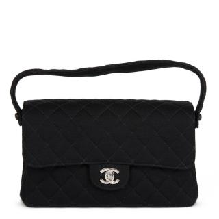 Chanel Vintage Black Jersey Double Flap Bag