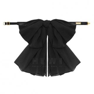 Saint Laurent Bow In Black Silk Muslin With Leather Collar