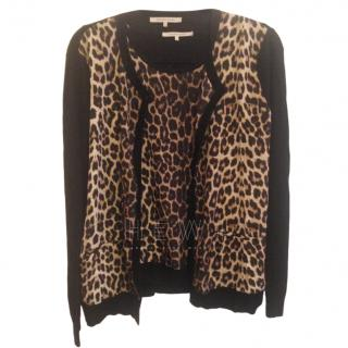 Gerard Darel Leopard Print Wool Twin Set