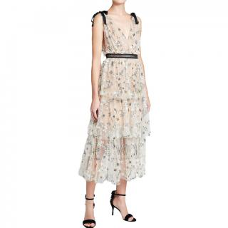 Self-Portrait Embroidered Mesh Tiered Dress