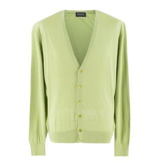 John Smedley Green Fine Knit Cardigan