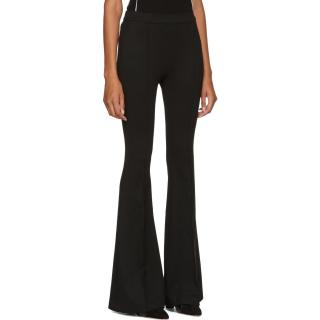 Rosetta Getty Black Jersey Pintuck Flared Trousers