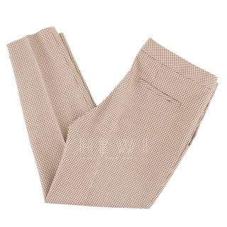 Chloe Camel & White Wool Blend Ankle Crop Pants