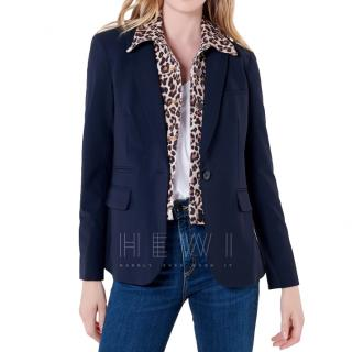 Veronica Beard Navy Dickey Jacket W/ Leopard Blouse Dickey