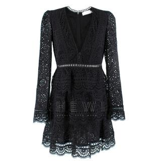 Zimmerman Black Lace Embroidered Mini Dress