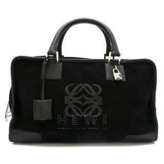 Loewe Black Suede & Leather Amazona Tote Bag