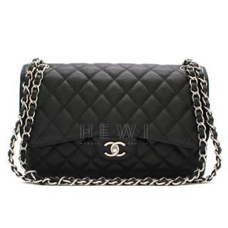 Chanel Black Caviar Leather Large Double Flap Bag