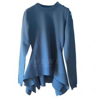 Sonia Rykiel Blue Knit Asymmetric Sweater