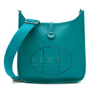Hermes Blue Paon Clemence Leather Evelyne III 29