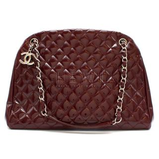 Chanel Patent Leather Burgundy Just Mademoiselle Bowling Bag