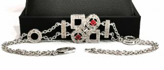 Bespoke red sapphire and diamond set in white gold bracelet