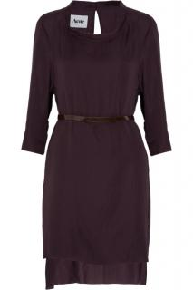 Acne dark purple semi sheer matte satin dress