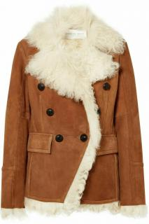 Veronica Beard Huntley shearling and suede double-breasted jacket