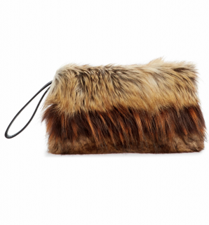 Dries Van Noten faux fur clutch
