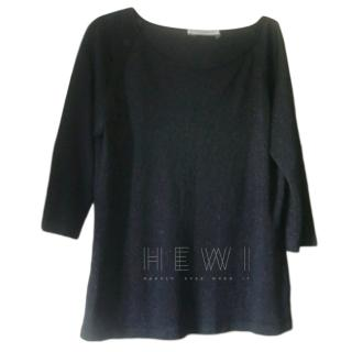 Marina Rinaldi Metallic Knit Black Top
