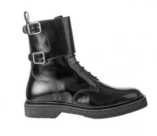 Balmain x H&M Black Leather Biker Boots