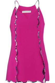 Mary Katrantzou Ruffle Trim Fuchsia Top