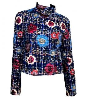 Chanel Camellia Tweed Double Breated High Neck Jacket