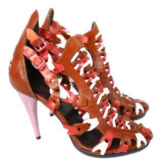 Balenciaga Woven Leather Cone Heel Sandals