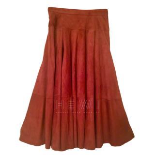 Loewe Rust Suede Midi Skirt