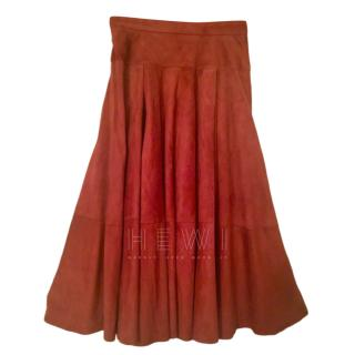Loewe Rust Suede Midi Skirt (28 inch waist)