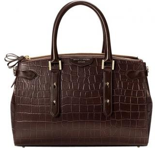 Aspinal of London Croc Embossed Brook Street Bag in Chestnut